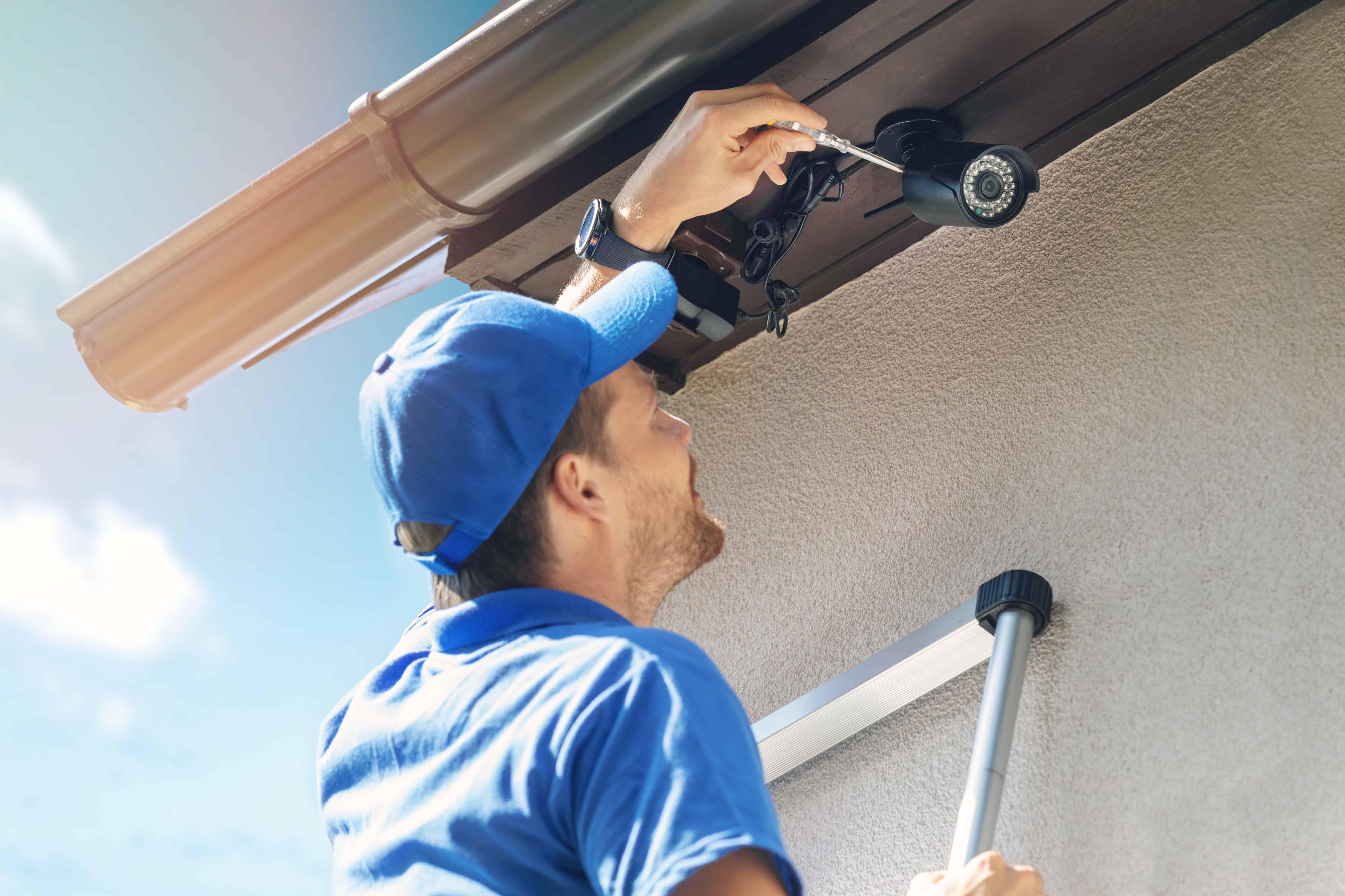 Man installs self monitored security camera